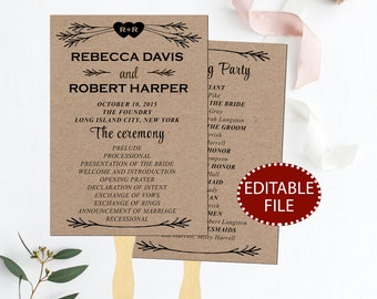 Rustic wedding program template, Wedding program fan template, Wedding program template, Wedding program printable, rustic wedding programs