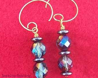 Handcrafted Earrings - Faceted Teal, Hematite & Gold by JewelryArtistry - E251
