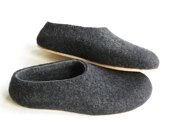 Mens Slippers Felted Slippers Organic Felt Shoes, Natural Home Shoes Minimalist House Slippers, Handmade Slippers Ecofriendly Fathers Day