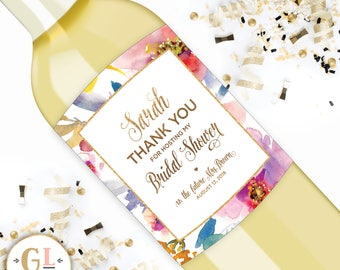 Hostess Gift Champagne Label, Baby Shower Host Thank You, Personalized Thank You Gift, Bridal Shower Hostess Gift, Hostess Gift Wine Labels