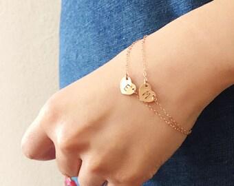 Rose gold Initial bracelet, Monogram bracelet, pink gold personalized jewelry, letter necklace, number bracelet, name bracelet, gift for her
