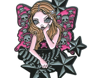 Skulls and Stars Collectible Enamel Pin by Jasmine Becket-Griffith Art skull and crossbones goth fairy