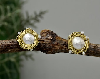Silver ball studs, hammered pearl earrings, elegant circle studs, brass design stud, unique sphere studs, jewelry gift under 30