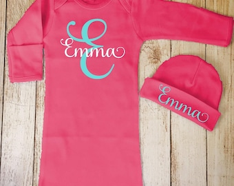 Baby Girl Coming Home Outfit, Baby Girl Gown and Beanie, Monogrammed, Personalized Baby Girl Gift, Newborn Baby Girl Outfit