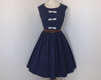 Vintage 1950s polka dot dress navy blue white spotty spot summer with bow detail size small UK 10