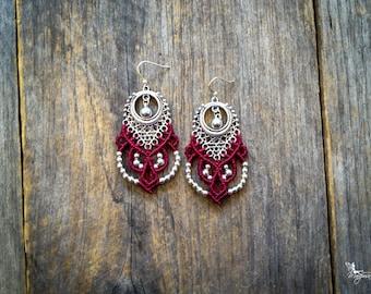 Big tribal chic Micro macrame earrings silver or brass bohemian jewelry by Mariposa