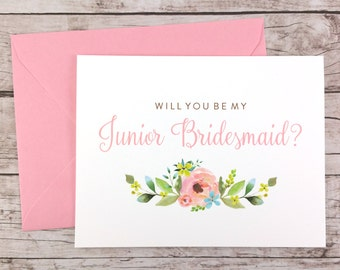 Will You Be My Junior Bridesmaid Card, Bridesmaid Proposal Card, Floral Bridesmaid Card, Wedding Card, Bridesmaid Gift - (FPS0013)