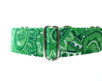 1.5 Inch Martingale Collar, Paisley Martingale Collar, Paisley Dog Collar, Green Martingale Collar, Green Dog Collar, Green Paisley