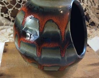 Vintage Mid Century Modern Drip Glaze Art Pottery Round Side Opening Planter / Succulent Planter / Sponge Caddy