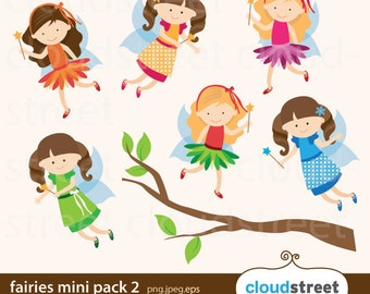 BUY 2 GET 1 FREE Fairies Clip Art Mini Pack 2 / Fairy Clipart vector illustration - for personal and commercial use
