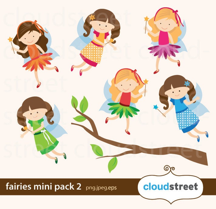 buy 2 get 1 free fairies clip art mini pack 2 fairy clipart rh etsy com