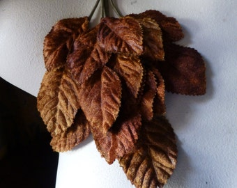 Copper Brown Velvet Leaves for Bridal, Boutonnieres, Fairy Costumes, Headbands, Hats ML 122