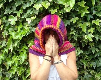Crochet Hood, Boho, Hippy, Festival, Pixie, hood, snood,. scoodie, multi coloured, hooded cowl,  festival hood, Handmade - Ready to Go!