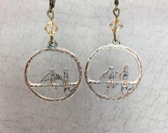 SPRING SALE White patina bird earrings copper earrings latch back