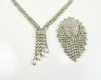 Vintage Rhinestone Necklace, Vintage Necklace, Vintage Rhinestone Jewelry, Bridal Necklace, Rhinestone Necklace with Rhinestone Dangles