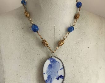 Blue Bird Pendant Necklace, Porcelain Pendant, Blue Beaded Necklace, Vintage Assemblage Necklace