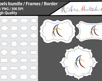 Label 2 line clipart / label 2 line /120 / empty frames / borders / printable high quality designs / hand drawn frames / commercial use