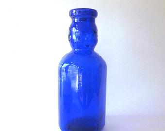 Cobalt Baby Face Glass Milk Bottle Brookfield Double Face Quart Size