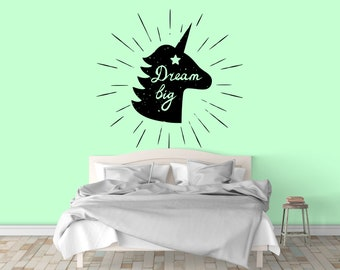 Dream Big - Adorable Unicorn Typography Fantasy Wall Decal for Home Decor, Lettering, Motivational, Inspiring, Wall tattoo, Interior Design