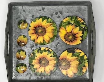 Sunflower Coaster and magnet set