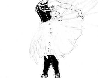 "Strings Attached - 9""x12"" Original Ink Illustration"