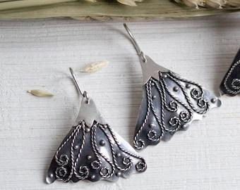 Flower earrings sterling silver Dangle earrings Silver earrings Silver flower dangles Flower jewelry set  Floral earrings Botanical jewelry
