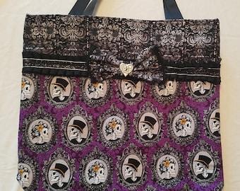 Purple Victorian Skulls Tote Bag