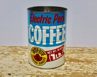 """Small vintage coffee cans,Shoprite,grocery store,coffee tin,kitchen storage,indoor planter,rusty coffee cans,blue coffee cans,5"""" coffee tin,"""