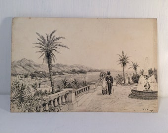 Original Victorian Pen and Ink Drawing - 1878 Signed TJP - Taking some Air - Romantic Walk - Lady and Gentleman - Sea View.