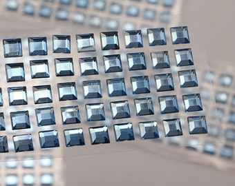 6mm 8mm Light Blue Sapphire Stick On Square Rhinestones Gems For DIY Cards and Invitations  - 50 Pieces