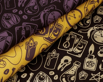 City Witch Fabric Collection // Witchcraft Pattern Series // Witchy Supernatural Occult Printed Fabric // 100% Cotton Fabric