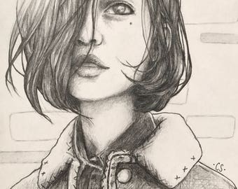 Original Artwork - Pencil Drawing Illustration Portrait of a Girl