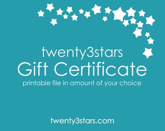 Gift Certificate for Any twenty3stars Poster Print, Gift Card, Etsy Gift Card, Custom Gift Order, Customized Name Sports Art Gift