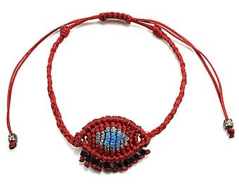 Macrame Greek evil eye bracelet with hematite beads, Crochet evil eye bracelet, Boho bracelet, Woven evil eye, Gift for women