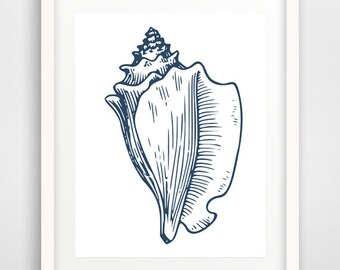 navy blue, seashell art print, printable, seashell print, nautical art, seashell poster, seashell wall art, nautical art prints, beach decor