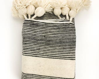 Ivory & Black Striped Pom Pom Bed Cover Blanket - Handwoven - Wool - Moroccan - Twin - Queen