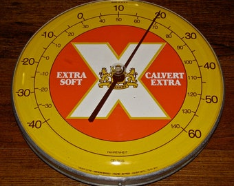 Vintage Calvert Extra 80 Proof Whiskey Round Advertising Tin / Metal Thermometer Sign