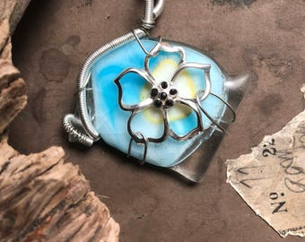 Wire wrapped fused glass pendant, Blue yellow fused glass, Silver wire wrapped, Silver flower, Pendant, FREE SHIPPING!