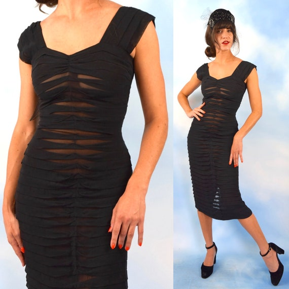 Vintage 50s 60s Sheer Black Pleated Hourglass Silhouette Wiggle Dress (size small)