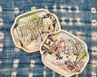 Vintage Set of 2 Small French Parisian Bistro Street Scene Metal Tin Trays // Made in England // Catchall Vanity Jewelry Tray
