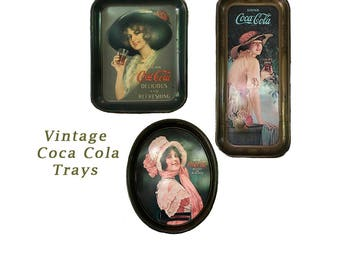 Three 1970s, Vintage Reissued Coca Cola Advertising Tin Serving Trays, Oval , Square & Rectangle