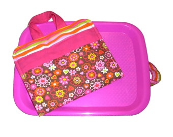 CAR TRIP TOY - Art Caddy & Matching Lap Desk - Flowers - (Includes All Supplies Shown)