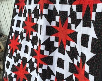 Handmade Cuddly Lap Quilt 'Red Stars'