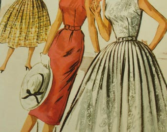 Vintage 50's McCalls #3653 Sewing Pattern Women's Junior Party Dress Two Styles Slim or Full Skirt Bust 33""