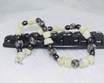 unique jewelry, womens choker necklace, purple fashion necklace for women, artisan jewelry, one of a kind, handmade lampwork bead jewelry