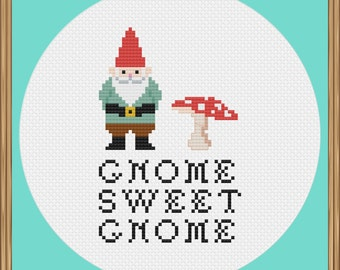 Modern Cross Stitch Gnome Pattern PDF Download