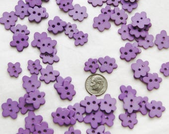 30 Purple Lavender Flower Buttons, 2 hole sew through (AA 166)