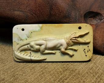 NEW ~ Full Body Alligator/Crocodile Profile carved in Natural Brown Ribbon Jasper Rectangle