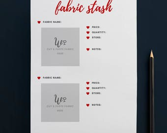 Printable Fabric Stash Organiser in RED (2 to Page) // Fabric Planner //Printable Planner // A4 Size  //Paper // Instant Download