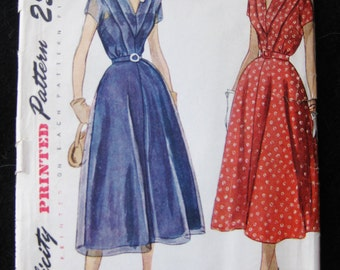 Vintage 40s 50s Simplicity 3202 Full Skirt Swing Dance Dress Sewing Pattern size 14